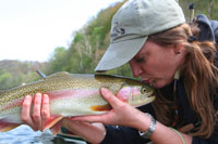 Charity kisses Holston River rainbow trout