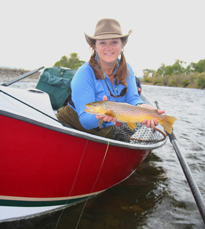 Charity Rutter with Madison River brown trout