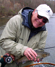 Jim Gibson with big brook trout, Tuckaseegee River, North Carolina