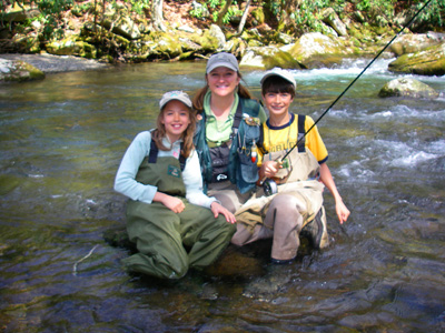 Charity Rutter with young fly fishers