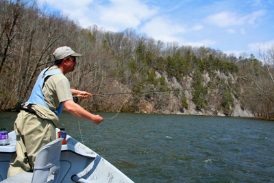 Fly Fishing from a drift boat on Tennessee's Pigeon River