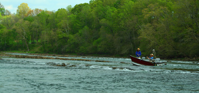 Hyde drift boat with fly fishers on the Holston River, Tennessee