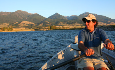 Ian Rutter rows a drift boat on Montana's Yellowstone River