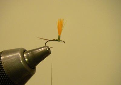 Hi Vis Parachute Blue Wing Olive, Step 3