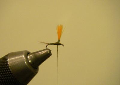 Hi Vis Parachute Blue Wing Olive, Step 4