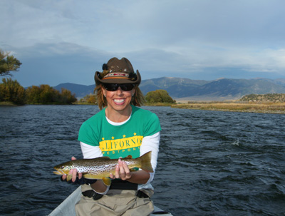 LaDawn Ostmann with a nice Madison River brown trout