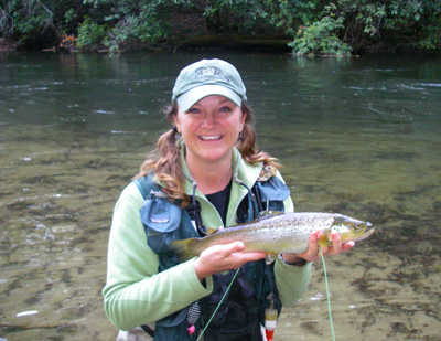 Charity Rutter with 18″ Hazel Creek Brown Trout