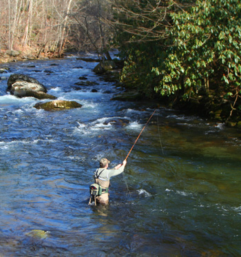 Doug Sanders high sticks nymphs on Little River in the Smokies