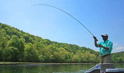 Michael Kennedy hooked up during the Holston River caddis hatch