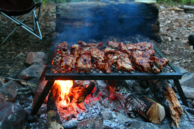 BBQ Ribs on Hazel Creek; Not a bad way to end a day of fishing.