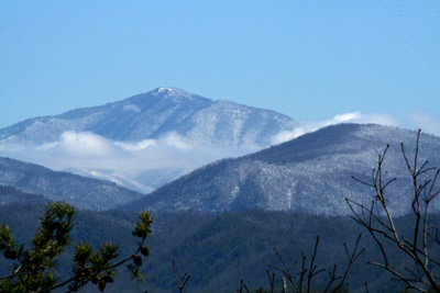 A view of Mout Leconte from Townsend, TN on a winter day