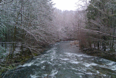 A dusting of snow along the Little River at Elkmont