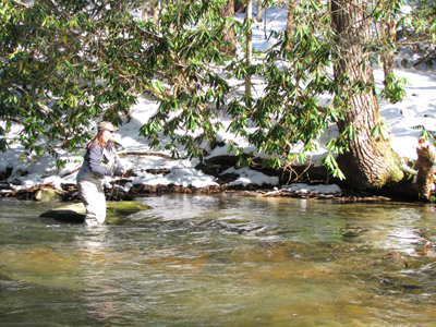 Charity fishes Abrams Creek in the snow