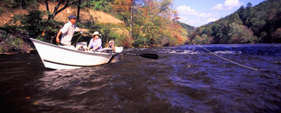 Drift boat on the Tuckaseegee River