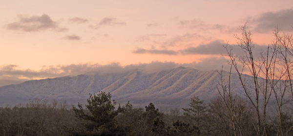 Dawn over the snowy Smokies