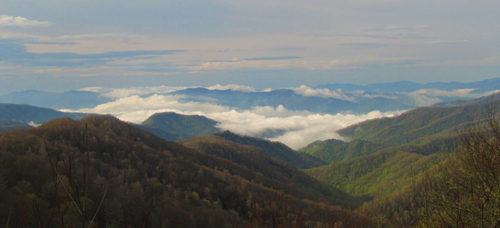 Scenic view of clouds on the Smoky Mountains