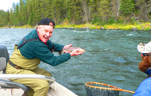 Mike Downey with a nice rainbow trout in Box Canyon