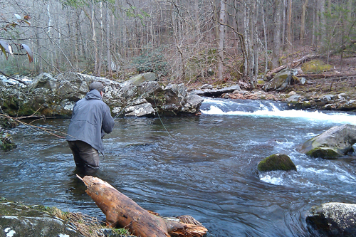 Angler fishing the Smokies in Winter