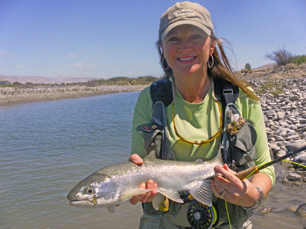 Charity with a Rio Caleufu rainbow trout