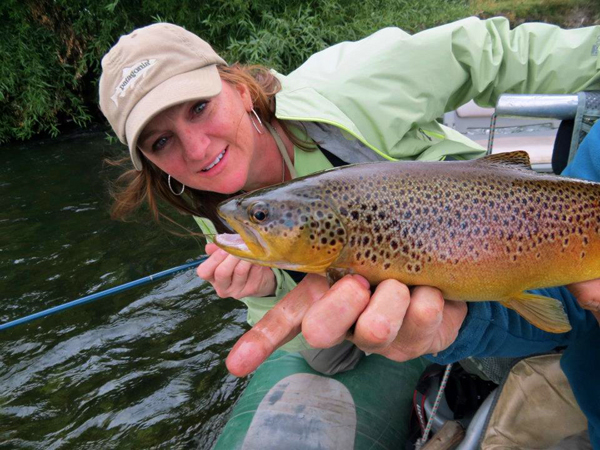 Charity Checks Out a Brown Trout
