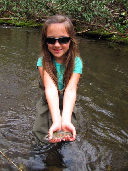 Willow Shows Off a Cataloochee Rainbow Trout