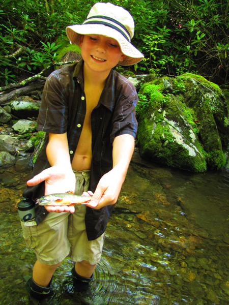 Young man with Smoky Mountain brook trout