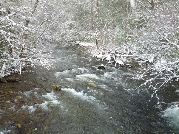 Snow on the river at Elkmont