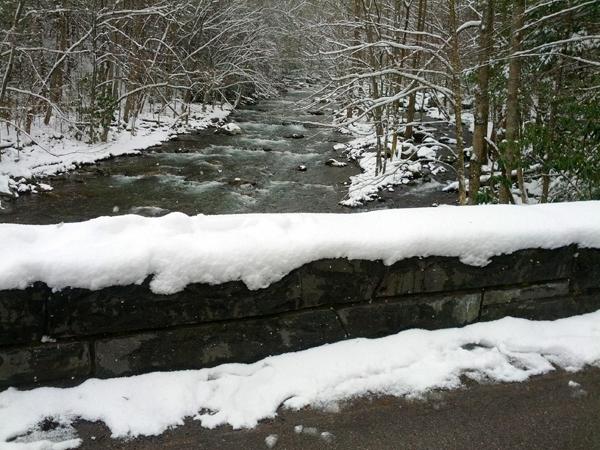 Snow on Elkmont Bridge