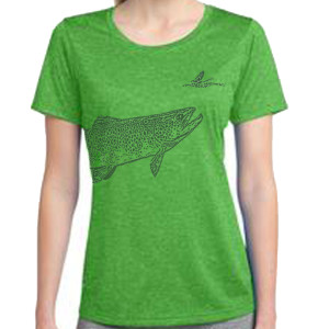 Rising trout LADIES wrap shirt FRONT