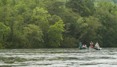 High water is a standard condition on the Hiwassee in summer making boats a necessity