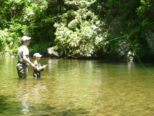 Father and daughter fly fishing
