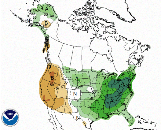 NOAA's long range precipitation forecast thru July 13