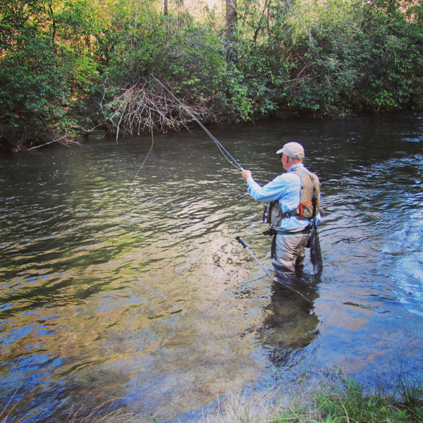 Spencer Elrod fishes a dry fly in the guage pool late in the afternoon