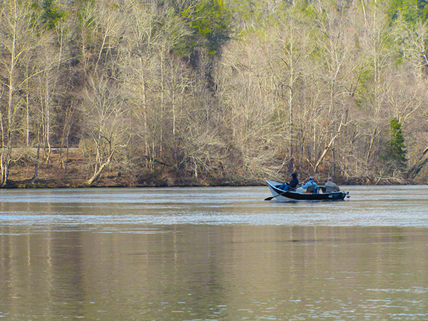 Drift boat on the upper reaches of the Hiwassee River above Reliance, TN