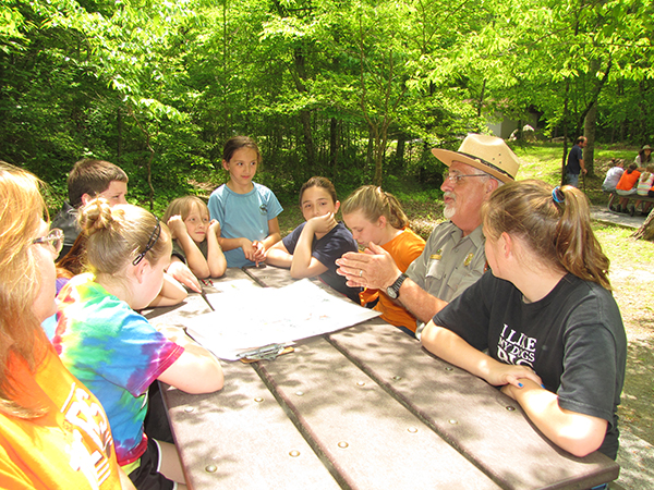 The kids learn about the threats to good water quality in the Smokies