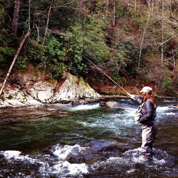 Charity fishes a dry with with a Tenkara rod on Little River in the Smokies