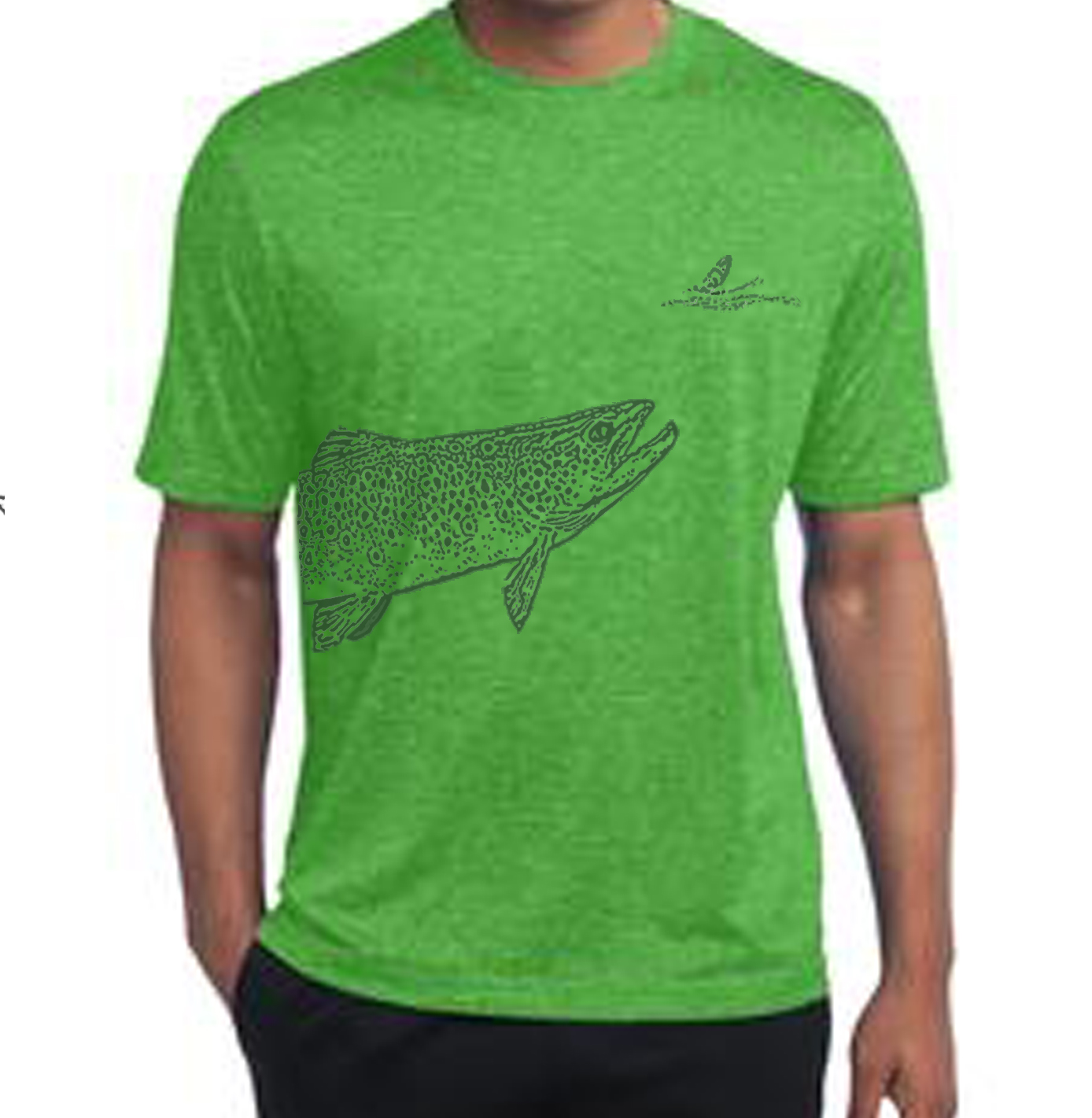 Wrap around rising trout t shirt men 39 s r and r fly fishing for Fly fishing shirt